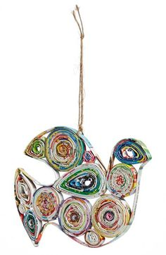 Make Christmas a little more colorful with a fun dove ornament handmade from recycled paper.