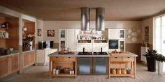 cuisine en style campagne avec îlot et hotte originale