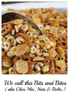 Bits & Bites, Nuts & Bolts or Chex mix – Momcrieff Bits and Bites. Or, you may call it Chex Mix or Nuts and Bolts. Whatever you call it, it's good! A fantastic snack or appetizer. Makes a big batch! Snack Mix Recipes, Recipes Appetizers And Snacks, Easy Snacks, Healthy Snacks, Easy Meals, Cooking Recipes, Snack Mixes, Bar Recipes, Candy Recipes