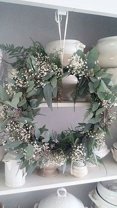natural wreath... seeded eucalyptus, plumose fern and, yes, Baby's Breath - Make in smaller version decorate base of lantern or birdcage centerpiece