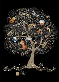 Music Tree - designed by Jane Crowther for Bug Art greeting cards