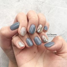 ネイル ネイル in 2020 Blue Wedding Nails, Simple Wedding Nails, Simple Gel Nails, Blue Gel Nails, Gorgeous Nails, Pretty Nails, Korean Nail Art, Funky Nails, Stylish Nails