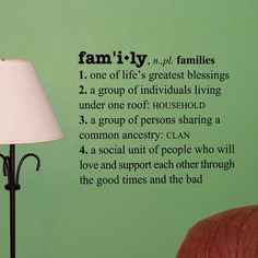 Family Definition vinyl decal by OffTheWallExpression on Etsy, $18.00