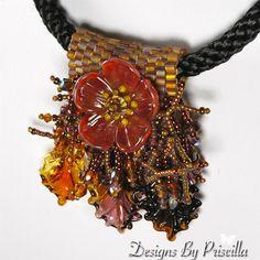 floral necklace, golden amber lampwork necklace, rust poppy flower necklace, slider pendant, statement necklace