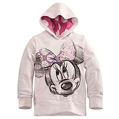 Fleece Sketch Minnie Mouse Hoodie for Girls