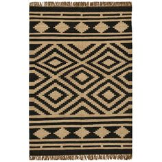 @Overstock.com - Hand-woven Kilim Beige Wool/ Jute Rug (5' x 8') - The Hand-woven Kilim rug features a luxurious wool- and jute-blend construction with flatweave design. This affluent rug also highlights a Southwestern/Tribal design in charming beige and black colors.  http://www.overstock.com/Home-Garden/Hand-woven-Kilim-Beige-Wool-Jute-Rug-5-x-8/7888204/product.html?CID=214117 $173.99