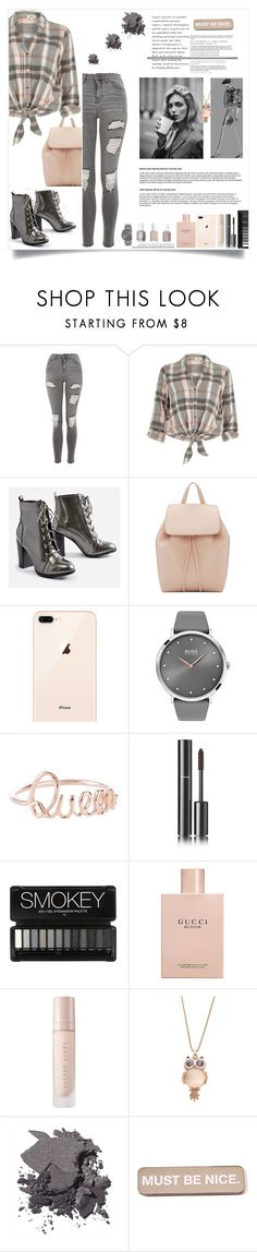 """""""Must be nice"""" by rebi-k ❤ liked on Polyvore featuring Topshop, River Island, JustFab, Mansur Gavriel, BOSS Black, Chanel, Gucci, Anja, Bobbi Brown Cosmetics and RIPNDIP"""