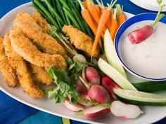 Panko-Crusted Chicken and Crudites with Blue Cheese Dip