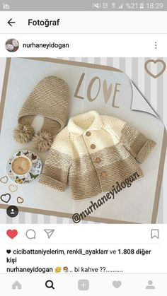 Knitting Pattern for Garter Stitch Baby JacketBaby cardigan knit in garter stitch with options for knit edging or crochet edging. Knitting For Kids, Baby Knitting Patterns, Crochet For Kids, Baby Patterns, Free Knitting, Knitting Projects, Crochet Projects, Crochet Patterns, Tricot Baby