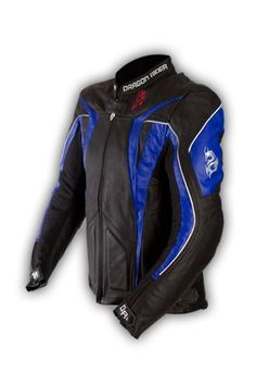 Save $ 110 order now Dragon Rider Sword Leather Motorcycle Jacket – Blue &