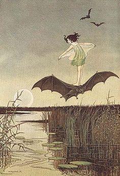 'The Witch's Sister on Her Black Bat' from 'The Enchanted Forest', 1921 (artwork by Ida Rentoul Outhwaite) Art Japonais, Vintage Fairies, Fairy Art, Land Art, Children's Book Illustration, Book Illustrations, Vampires, Illustrators, Fantasy Art
