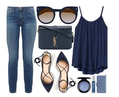 """Dark Blue"" by smartbuyglasses ❤ liked on Polyvore featuring STELLA McCARTNEY, Gap, Current/Elliott, Yves Saint Laurent, J.Crew, MAC Cosmetics, MICHAEL Michael Kors, Urban Decay and Blue"