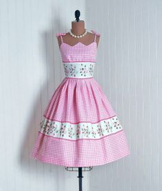 1950's Embroidered Floral Pink-Gingham with Bow-Tie Straps