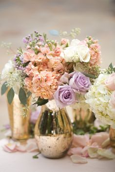 Luxury country club wedding ideas spark dreams of romance and glamour with soft hues and lush floral that will certainly quench your imagination. Cheap Wedding Flowers, Lilac Wedding, Wedding Ideas, Peach Gold Weddings, Wedding Stuff, Lavender Baby Showers, Gold Centerpieces, Vases, Blush And Gold