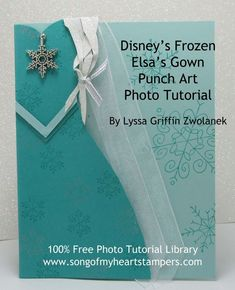 For all you Frozen fans! Photo Tutorial: Elsa from Frozen punch art card Scrapbooking, Scrapbook Cards, Arte Punch, Frozen Cards, Frozen Themed Birthday Party, Punch Art Cards, Disney Cards, Dress Card, Kids Birthday Cards