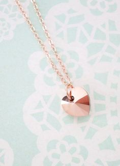 Rose Gold Heart necklace simple rose gold filled- need this in my life!!!