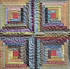 Sisters Quilt Show 2012 I just love log cabin blocks! Awesome idea for quilting log cabin. Patchwork Quilting, Amische Quilts, Log Cabin Quilts, Quilt Stitching, Longarm Quilting, Mini Quilts, Free Motion Quilting, Quilting Projects, Log Cabins