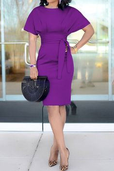 Load image into Gallery viewer, Solid Cap Sleeve Fitted Bodycon Dress African Fashion Dresses, African Dress, Trend Fashion, Fashion Outfits, Chic Womens Fashion, Female Fashion, Cheap Fashion, Fashion Women, Sheath Dress