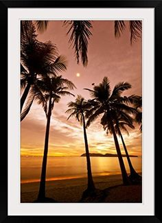 GreatBIGCanvas Sunset beach Photographic Print with Black Frame 24 x 36 *** Click on the image for additional details.Note:It is affiliate link to Amazon.