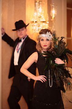 1920s Speakeasy Fashion. Find more inspiration for a Speakeasy party theme at http://sparklerparties.com/speakeasy/