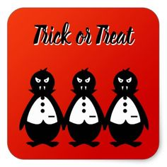 Party of Vampire Penguins VZS2 Trick or Treat Square Sticker - unusual diy cyo customize special gift
