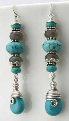 Silver wire wrapped turquoise artisan earrings