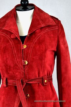 Red Leather Antilope Finish Vintage Coat size 12 red calf suede 70s hippie #Unbranded #BasicCoat #vintageclothing #leathercoat