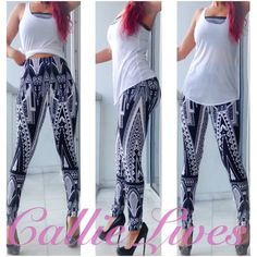 """Black White Geo Church Plus Size Leggings L XL 2X Tag Size: One Size Plus Fits: Large, 1XL, 2xl Measurements Laid Flat (Double for Minimum fit) Waist 13""""  Hips 19"""" Length 38"""" Inseam 27.5"""" These leggings should fit a Waist 36""""-42"""" and Hips 40""""-48"""".  I'm wearing this size in the photos. My waist is 30"""" and my hips are 42"""".  I weigh 155 lbs at 5'6"""". Just add a solid crop top, a Sheer tank or a cross body clutch from other listings by Callie Lives LaLaLand and you have a brand new outfit…"""