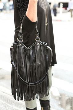 I need for my collection #fringe #purse #black