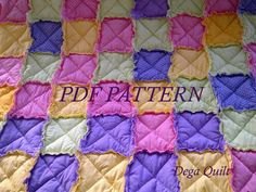 """Colorful baby rag quilt pattern """"Rainbow"""""""