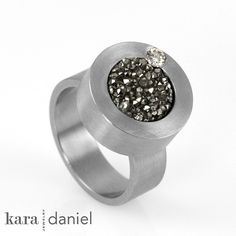 drusy  diamond ~ encircled in stainless steel . ring by kara | daniel, via Flickr