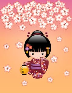 Sakura Kokeshi Doll Art Print by Chibibi | Society6