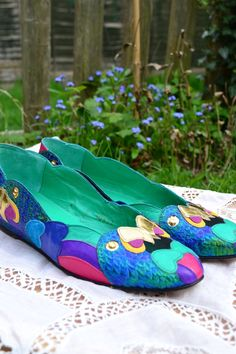 Vintage 1980s Beverly Feldman Harlequin Shoes Flats by Tigrisa, £25.00