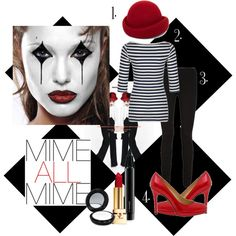 """""""DIY Mime Costume"""" by fashsmash on Polyvore -my halloween costume this year?"""