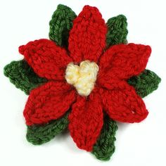 Knitted Poinsettia DONATIONWARE knitting pattern : PlanetJune Shop, cute and realistic crochet patterns & more