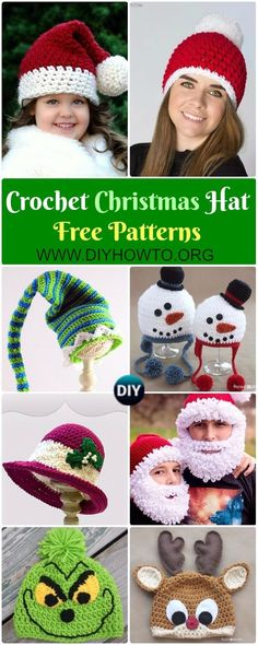 Collection of Crochet Christmas Hat Gifts Free Patterns: Crochet Christmas Tree, Elf hat, santa hat, elf hat, Snowman hat holiday gift via @diyhowto