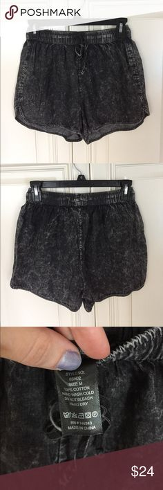 Black Acid Wash Shorts NWOT NWOT. There are 2 TINY holes where I took the tags out as seen in last pic, barely noticeable near top of waistband. Elastic waistband, size Medium. Shorts