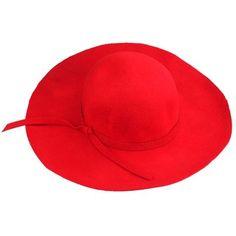 Chapéu de feltro vermelho aba grande