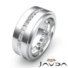 Men's diamond wedding band   Men's Eternity Wedding Band Channel Set Princess Diamond Ring Platinum ...