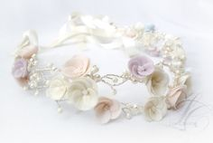 Bridal Flower Crown  Swarovski Crystal and van LysaCreation op Etsy, $95.00