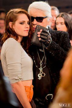 Karl Lagerfeld and Kristen Stewart at last night's Chanel Metiers d'Art show in Dallas, TX