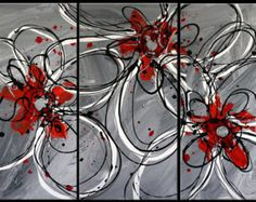 diy+art+canvas+in+red+and+gray | piece multi panel canvas art liqu id painting abstract splashy red ...