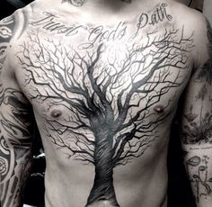 Crazy tree. The shading and detailing is nothing short of incredibly impressive. @dr_woo_ssc on IG (i'm a big fan). #tats #tattoo #tree #b&w #crazy #intense #dark #shading #detail #tree #body #art #bodyart #ssc #shamrock #socialclub #california #amazing #tattoos