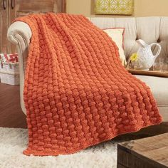 Herrschners® Basket Weave Chunky Throw Knit Afghan Kit