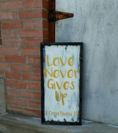 1 Corinthians 13 Wood Sign  Love Never Gives Up by HamptonsNook
