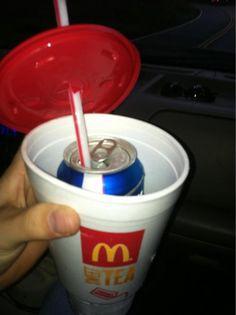 cache l'alcool!