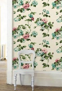 What a marvelously beautiful large scale floral print wallpaper that catches your eye, but don't swallow the entire room whole. #shabby #chic #vintage #wallpaper #floral #roses #home #decor #decorating #interior #design