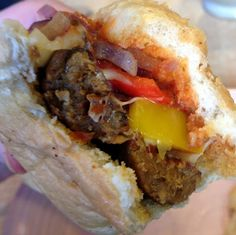 """The """"Not Italian Sausage"""" at Java Joes on Fourth St. Grilled vegetarian sausage on a toasted hoagie with provolone, peppers and onions."""