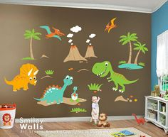 Dino Dinosaurs HUGE Set Baby Nursery Kids di smileywalls su Etsy, $189.00