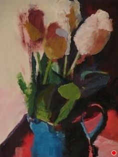 Tulips with White and Black by Ann Watcher Oil ~ 16 x 8